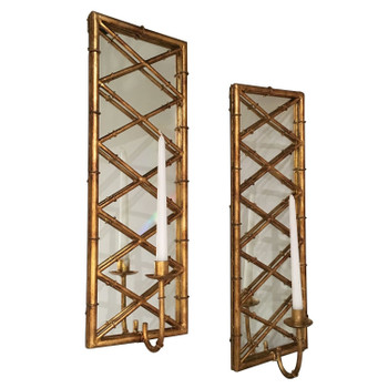 Antique Gold Bamboo Iron Mirrored Candle Wall Sconces, Set of 2