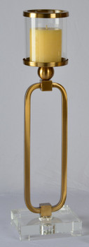 """20"""" Bronze Pillar Candle Holder with Crystal Base"""