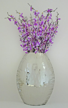 Large Crumpled Edge Stainless Steel Oval Vase