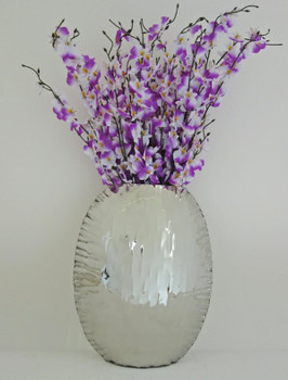 Small Crumpled Edge Stainless Steel Oval Vase