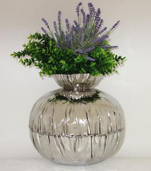 Large Crumpled Edge Stainless Steel Round Vase