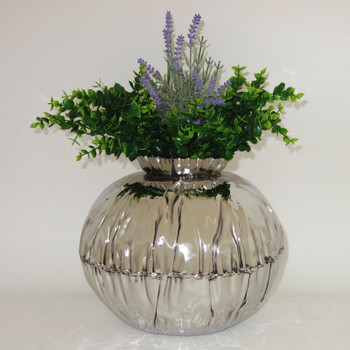 Medium Crumpled Edge Stainless Steel Round Vase