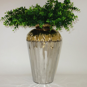 Large Crumpled Edge Stainless Steel Two-Tone Vase