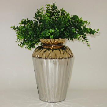 Small Crumpled Edge Stainless Steel Two-Tone Vase