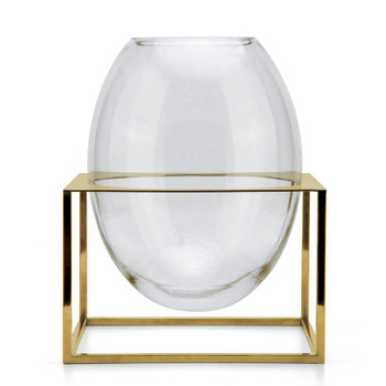 Oval Glass Vase with Stainless Steel Gold Base