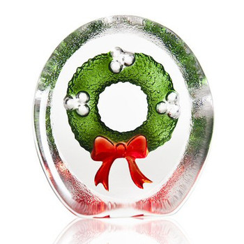 Green and Red Christmas Wreath Painted Crystal by Mats Jonasson