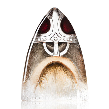 Viking Red Painted Etched Crystal Sculpture by Mats Jonasson