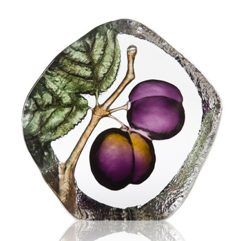 Plum Flower Painted Etched Crystal Sculpture by Mats Jonasson