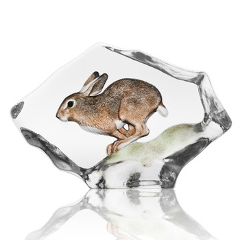 Hare Rabbit Painted Etched Crystal Sculpture by Mats Jonasson