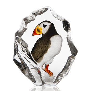 Puffin Bird Painted Etched Crystal Sculpture by Mats Jonasson