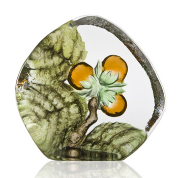 Hazel Flower Painted Etched Crystal Sculpture by Mats Jonasson
