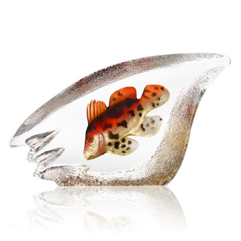"""11"""" Coral Fish Orange Painted Etched Crystal Sculpture by Mats Jonasson"""