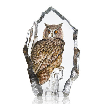 Limited Edition Eagle Owl Bird Painted Etched Crystal Sculpture by Mats Jonasson
