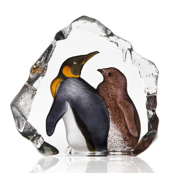 King Penguin Bird with Baby Penguin Painted Etched Crystal Sculpture by Mats Jonasson