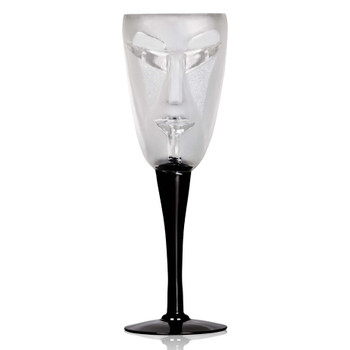 Kubik Clear Mouth Blown Crystal White Wine Glass with Black Stem by Mats Jonasson