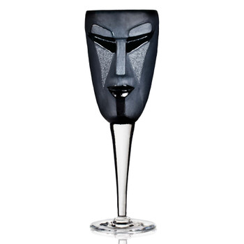 Kubik Black Mouth Blown Crystal White Wine Glass with Clear Stem by Mats Jonasson