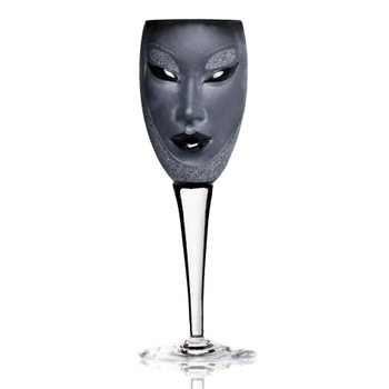 Electra Black Mouth Blown Crystal White Wine Glass with Clear Stem by Mats Jonasson