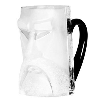 Loke Clear Mouth Blown Crystal Beer Mug with Black Crystal Handle by Mats Jonasson