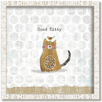 "Custom ""Good Kitty"" Inspirational Vintage Style Framed Wood Sign"