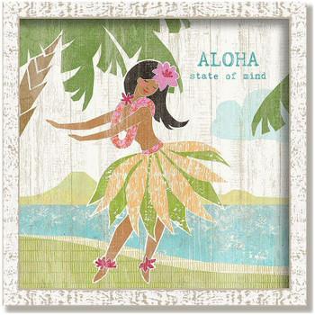 "Custom ""Hula Girl"" Inspirational Vintage Style Framed Wood Sign"