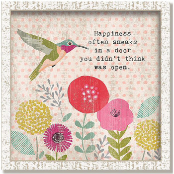 """Custom """"Happiness"""" Inspirational Vintage Style Framed Wood Sign"""