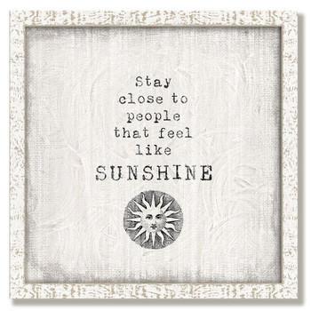 """Custom """"Sunshine"""" Inspirational Vintage Style Framed Wood Sign"""