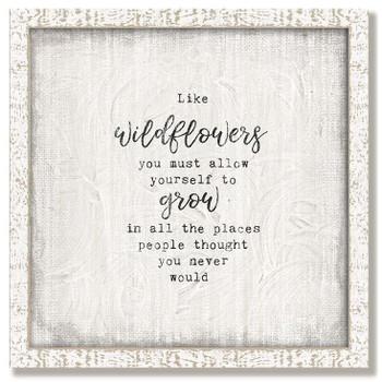 "Custom ""Wildflowers"" Inspirational Vintage Style Framed Wood Sign"