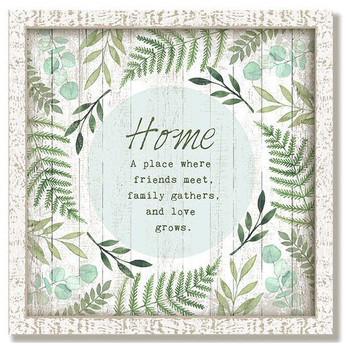 "Custom ""Love Grows"" Inspirational Vintage Style Framed Wood Sign"