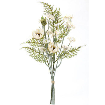 """23"""" Floral Bundle Green Eggshell and White Silk Sprays, Set of 6"""