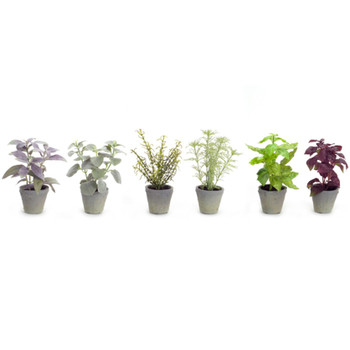 """7"""" Herb Silk Plants with Decorative Planters, Set of 12"""