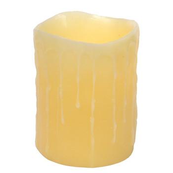 "4"" x 5"" LED Cream Wax Dripping Pillar Candles, Set of 3"