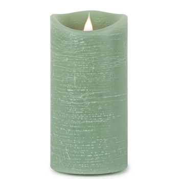 """3.5"""" x 7"""" Simplux LED Designer Green Pillar Candle with Flickering Flame"""