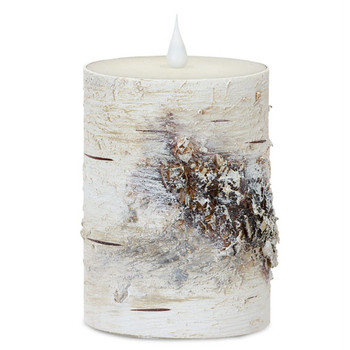 """3.5"""" x 5"""" Simplux LED Birch Wax Pillar Candles with Flickering Flames, Set of 2"""