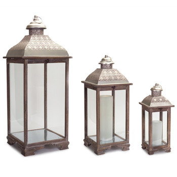Maximum Metal and Wood Candle Lanterns Candle Holders, Set of 3