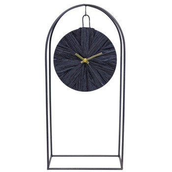 """20.25"""" Arch Iron and Wood Table Clock"""