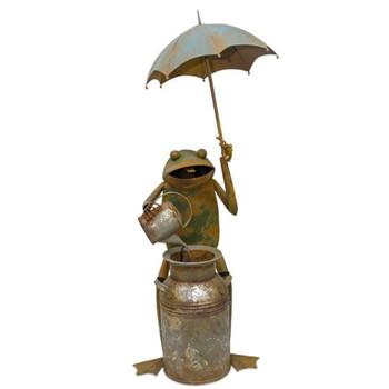 "53.75"" Frog with Umbrella Iron Outdoor Fountain"