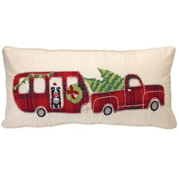 """22"""" Truck and Camper Decorative Rectangle Throw Pillow"""