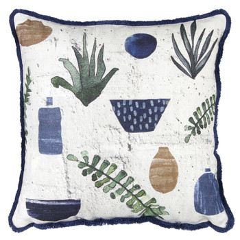 """15"""" Pottery and Leaves Decorative Square Throw Pillows, Set of 2"""