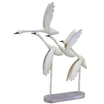 """27.75"""" Flying Geese Iron and Wood Sculpture"""