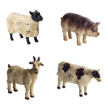 Sheep Pig Cow Goat Polystone Sculptures, Set of 8
