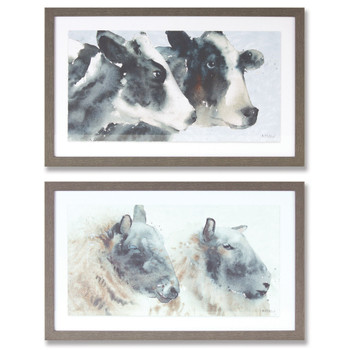 """11.25"""" Cow and Sheep Art Prints Framed Wall Art, Set of 2"""