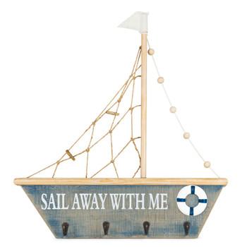 """24.5"""" Sailboat Wood Wall Hook"""