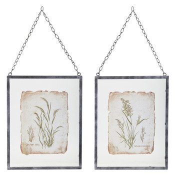 "16"" Grass Art Prints in Hanging Metal Frames Wall Art, Set of 2"
