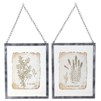 """12.5"""" Lavender and Thyme Art Prints in Hanging Metal Frames Wall Art, Set of 2"""