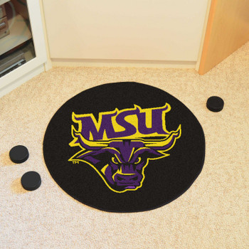 """27"""" Minnesota State University - Mankato Puck Round Mat - """"MSU & Maverick"""" Logo"""