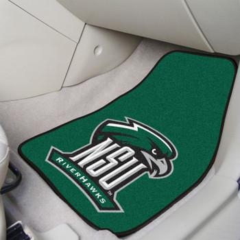 Northeastern State University Green Carpet Car Mat, Set of 2