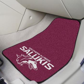 Southern Illinois University Black Carpet Car Mat, Set of 2