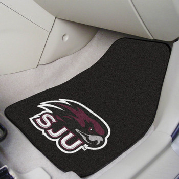 St. Joseph's University Maroon Carpet Car Mat, Set of 2