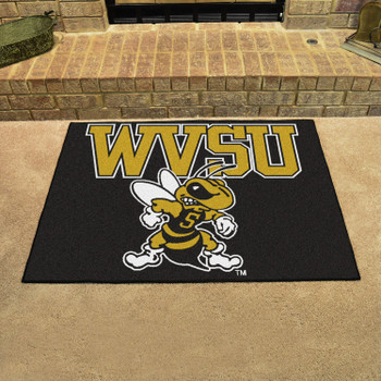 "33.75"" x 42.5"" West Virginia State University All Star Black Rectangle Mat"