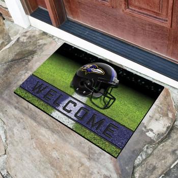 """18"""" x 30"""" Baltimore Ravens Black Crumb Rubber Door Mat"""